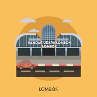 Lombok, ville d'Indonésie, illustration conceptuelle, conception