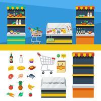 Deux bannières horizontales de supermarché vecteur