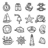 Ensemble d'icônes noir blanc nautique