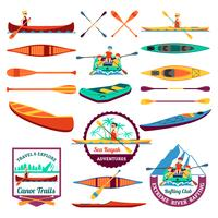 Rafting Canoeing et Kayak Elements Set vecteur