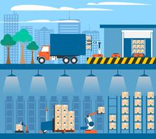 Warehouse Automation 2 Compositions pour bannières plates vecteur