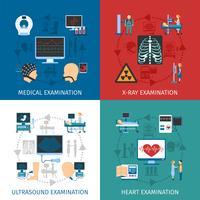 Examen médical 4 Place des icônes plates vecteur