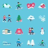 Ensemble d'icônes plat hiver
