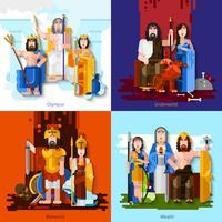 Concept de dessin animé des dieux olympiques 2x2 vecteur
