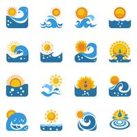Blue Wave avec Sun Icons Set
