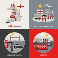 Angleterre Culture Travel 4 Flat Icons vecteur