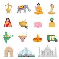 Ensemble d'icônes plat Inde vecteur