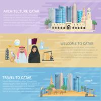Ensemble de bannières horizontales du Qatar vecteur