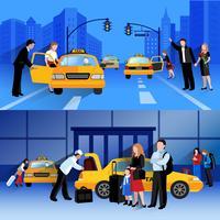 Service de taxi de bannières horizontales vecteur