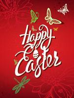 Signe de Joyeuses Pâques, symbole, logo sur fond rouge.