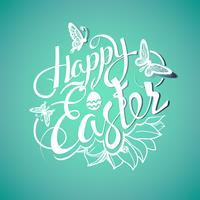 Joyeuses Pâques signe, symbole, logo sur fond vert avec les fleurs.