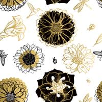 Fleurs de modèle sans couture, papillons, colibris, fond blanc. vecteur