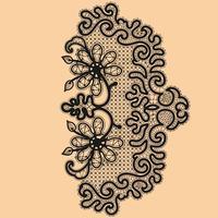 Abstraction motif de dentelle florale. Modèle de cadre pour carte. Napperon en dentelle vecteur