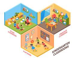 Illustration isométrique intérieure de jardin d'enfants vecteur