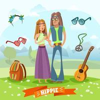 composition hippie sous-culture vecteur