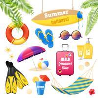Ensemble d'éléments réalistes de vacances à la plage