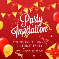 Invitation à une fête Affiche colorée festive vecteur