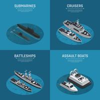 Jeu d'icônes isométrique de bateaux militaires carrés