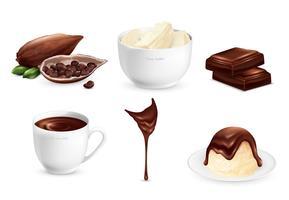 Ensemble de produits de cacao vecteur