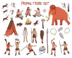 Ensemble d'icônes personnes tribal primal