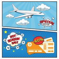 Vente de billets d'avion bannières style bande dessinée vecteur