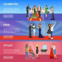 Bannières horizontales de célébrités vecteur