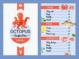 Affiche plate de menu de fruits de mer