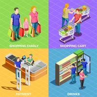 Les gens shopping isométrique vecteur