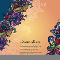 Modèle de dentelle de couleur abstraite des éléments de fleurs et de papillons. Fond coloré de vecteur.