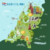 Affiche de carte de voyage culturel de Hollande vecteur