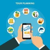 Planification de tournée avec des billets sur l'écran du smartphone vecteur