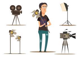 Groupe de tournage de film vecteur