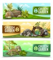 Ensemble de bannières horizontales Design Garden Landscape vecteur