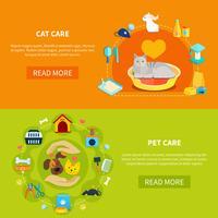 Bannières de soins pour animaux vecteur