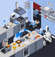 Composition robotique de femme de ménage vecteur