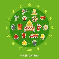Concept plat de lutte contre l'incendie vecteur