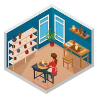 Composition de l'espace de travail isométrique en poterie vecteur