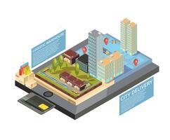 Marchandises en ligne ville livraison infographie isométrique