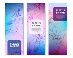 Bannières verticales de formes de plexus géométriques vecteur