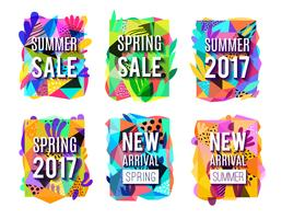 Ensemble de bannières colorées abstrait vente vecteur