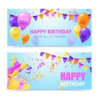 Bannières de fête d'anniversaire vecteur