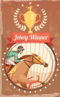 Affiche vintage de gagnant de jockey