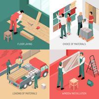 Concept de design de rénovation isométrique