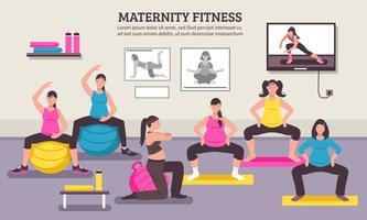 Affiche plate de cours de fitness pour maternité