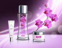 Affiche réaliste de composition de produits de cosmétiques vecteur