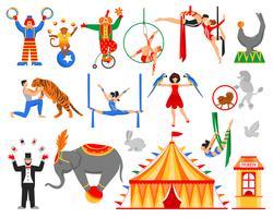 Collection de personnages d'artiste de cirque vecteur