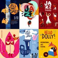 Ensemble d'affiches jazz vecteur