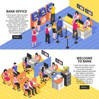 Bannières isométriques horizontales du bureau de la banque