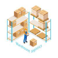 Conception isométrique de la logistique d'entrepôt vecteur