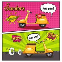 Scooters Bannières Style Bande Dessinée vecteur